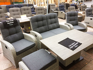 The silver grey rattan sofa set