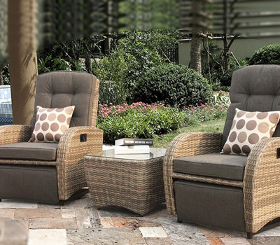Bellevue reclining rattan set in brown